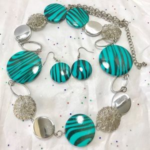 Large Turquoise Blue Silver Necklace Earrings Set